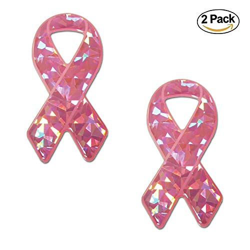 Breast Cancer Awareness Pink Ribbon Reflective Sticker Decal 2 Pack