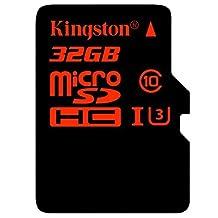 KINGSTON SDCA3/32GB Digital 32GB microSDHC UHS-I Speed Class U3 90R/80W Flash Memory Card with Adapter, Black