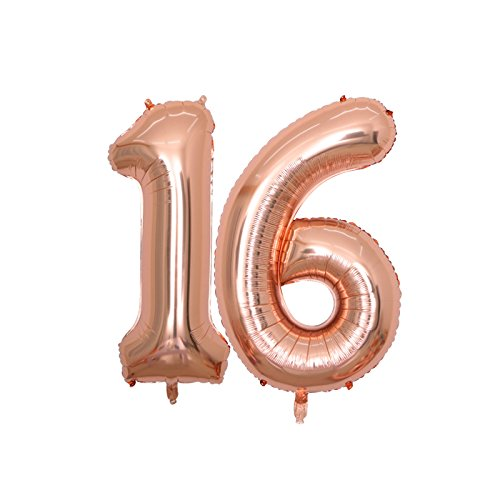 BALONAR 40 inch Jumbo 16th Rose Gold Foil Balloons for Birthday Party Supplies,Anniversary Events Decorations and Graduation Decorations (ROSE16) for $<!--$7.99-->