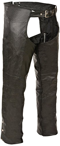 Event Biker Leather Basic Plain Lined Chaps (Black, 4X-Large) by Event Biker Leather