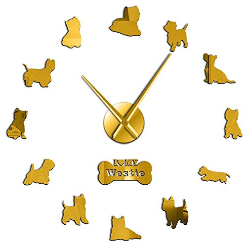 - GUABOHHY West Highland White Terrier DIY Giant Wall Clock Mirror Effect Arylic Wall Art Dog I Love My Westie Long Hands Wall Clock