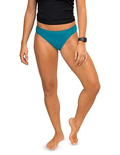 Woolx Women's Roxy Lightweight & Breathable Merino Wool Bikini Underwear, Aqua, - Profile Low Brief Show No