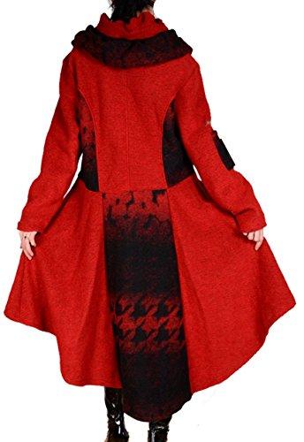 Assymetrisch Damen Wolle Patchwork Wintermantel Mantel Swinger Lagenlook 40 42 44 46 48 50 L XL XXL Warm Trench Coat Grau