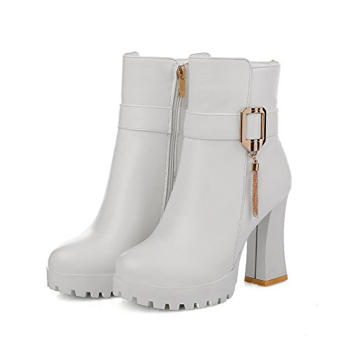 Imitated Chain Platform Boots 1TO9 Chunky Metal Womens Leather Heels Buckle White wZq0w
