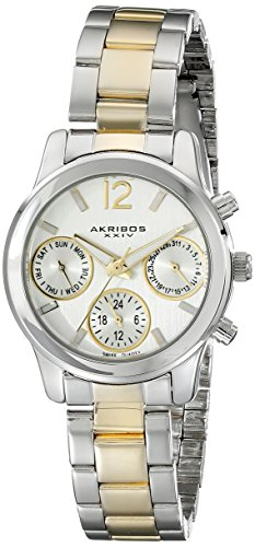 Akribos XXIV Women's AK709TTG Ultimate Swiss Quartz Multifunction Two-tone Bracelet Watch
