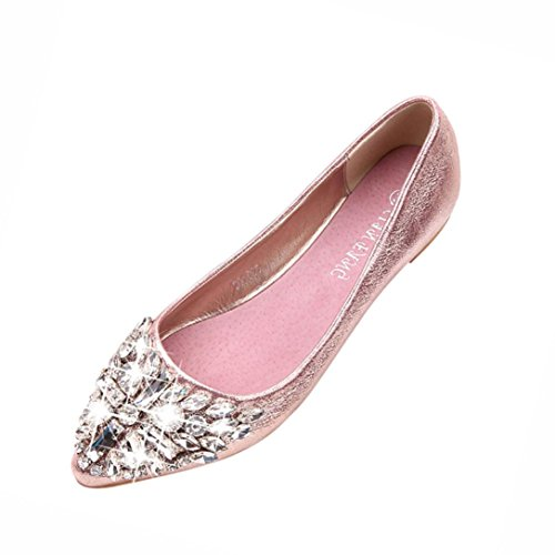 Byste Women Flat Pointed Shoes, Loafer Ladies Casual Bright PU Leather Shoes Slip Sandals Low Square Heel Rhinestone Decoration Pink