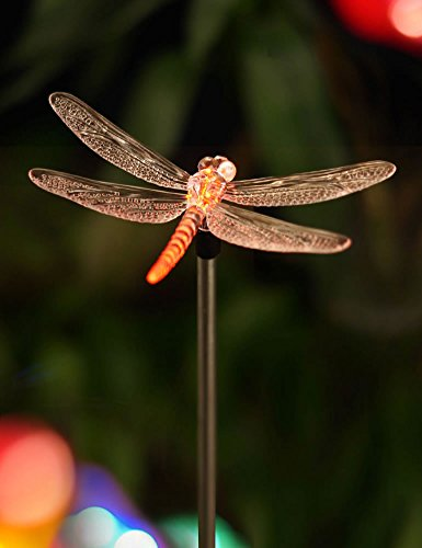 """BRIGHT ZEAL 5.5"""" Life-Size DRAGONFLY LED Color Changing Solar Stake Lights Outdoor - Dragonflies Decorations Outside Solar Lights for Yard Decoration Clearance - Valentine Outdoor Light Decorations from Bright Zeal"""