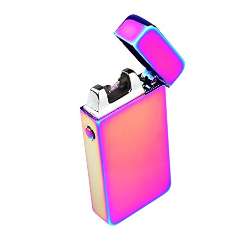 Ruiwo Tesla Coil Lighters Metal Rechargeable Windproof Flameless Electric Dual Arc USB Lighter (Rainbow)