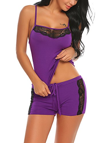 BEAUSOM Womens 2 Piece Sexy Lingerie Elastic Waist Shorts Pajama Sleep Set Purple XX-Large