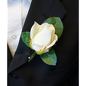 Amazon boutonniere white rose boutonniere with pin for prom boutonniere live feel real touch classic keep sake rose boutonniere pin included mightylinksfo Image collections