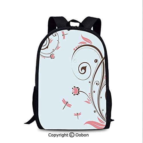 Laptop Computer Backpack, Swirled Shabby Chic Blossom Branches Fragrance Essence Theme, School Bag :Suitable for Men and Women, School, Travel, Daily use, etc.Dark Brown Baby Blue Light Pink