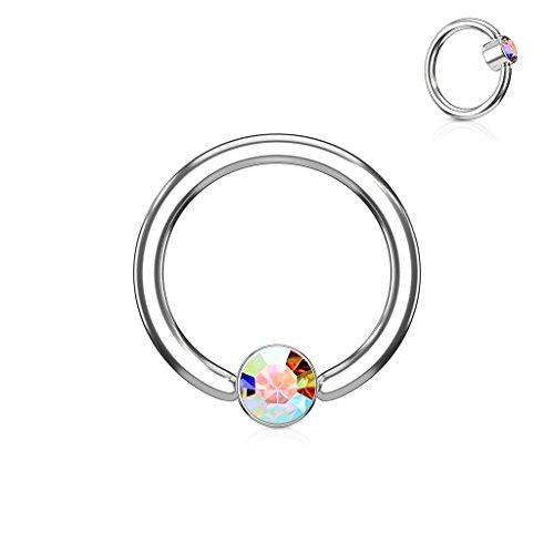 Inspiration Dezigns 14G 12mm Aurora Borealis CZ Captive 5mm Bead Ring Hoops Piercing ()