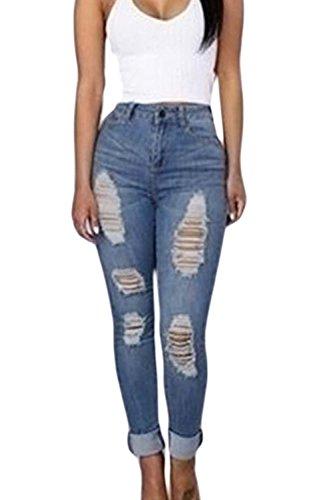 Women Azul Apretados Casual Ripped Alto Tubo Pantalones De Jeans 's Talle De qBZq6