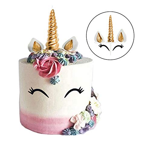GmakCeder Unicorn Cake Topper,Reusable Unicorn Horn, Ears and Eyelashes Party Cake Decoration Value Set for Baby Shower, Birthday Party (6inch/new eyelashes)
