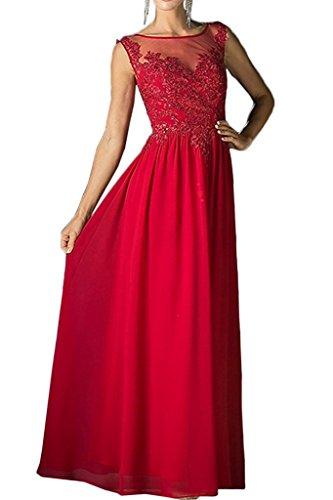 Abendkleider Ballkleider Brautmutterkleider Marie La Gold mit Spitze Applikation Chiffon Braut Rot Damen Langes YO8rOxn