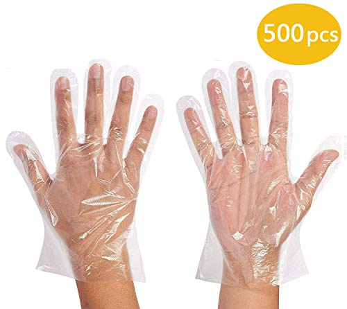 500 Pcs Disposable Clear Plastic Gloves Food Service Gloves Disposable Food Prep Gloves, Disposable Polyethylene Gloves for Cooking,Cleaning,Food Handling,Powder and Latex Free