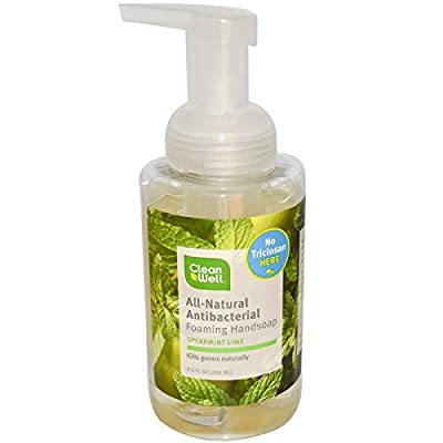Cleanwell Natural Organic Antibacterial Foaming Orange Vanilla and Spearmint Lime Hand Soap Pump Bundle With Thyme for Killing Germs and Aloe Vera for Moisturizing Hands and Skin, 9.5 fl. oz. each