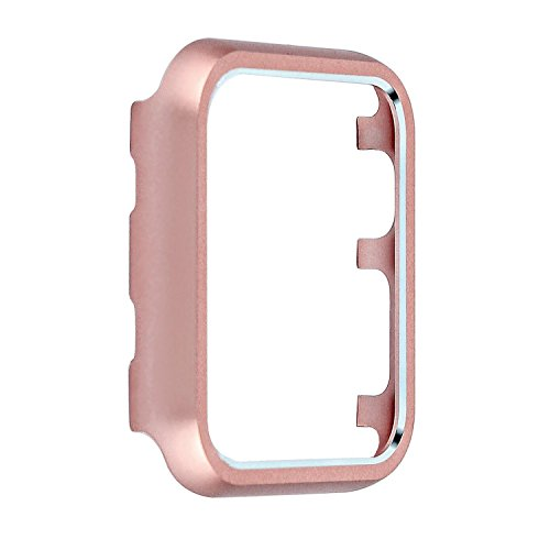 Angeland Metal Protective Smartwatch Bumper 38mm, Matte Finish Aluminum Alloy Frame Cover Case Compatible with Apple Watch 38mm Series 3, Series 2, Series 1 - Rose Gold