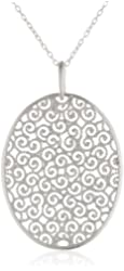 Sterling Silver Large Filigree Oval Pendant Necklace, 18""