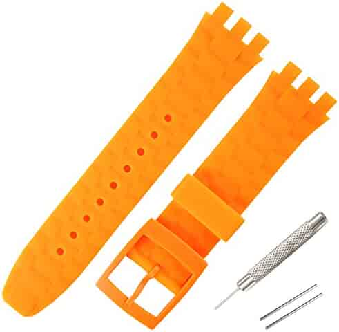 ebbfe422d 21mm Replacement Waterproof Silicone Rubber Watch Strap Watch Band for  Swatch