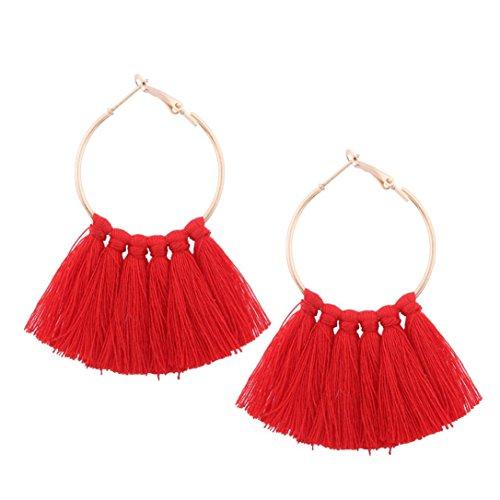 Elogoog Clearance Large Hoop Earrings Gold Fashion Jewelry Women Girl Long Tassel Earrings (Red)