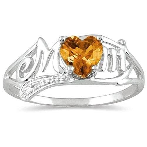 .50 Ct Citrine Heart & Diamond Mom Ring .925 Sterling Silver Rhodium Finish