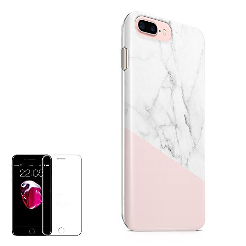 Obbii Cute Case for iPhone 7 Plus/8 Plus Case (5.5 inch) Baby Pink Marble Design Hybrid Slim Hard Shell+ Inner TPU Protective Durable Cover Case with Clear Screen Protector for iPhone 7 Plus/8 Plus