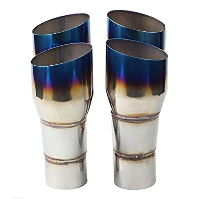 """BLACKHORSE-RACING Pair of Exhaust Muffler Tip Duo Staggered Slant Single Layer Blue Burnt Left and Right for Trucks Car 2.5"""" in 3.5"""" Out, 9.5"""" Long: Automotive"""