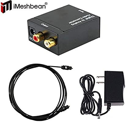 iMeshbean Digital Optical Coaxial Toslink Signal to Analog Audio Converter Adapter RCA L/R