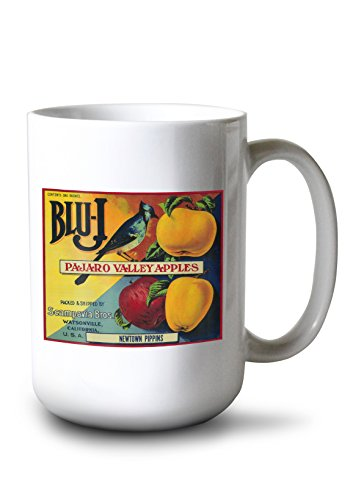 (Lantern Press Blu-J Apple - Vintage Crate Label (15oz White Ceramic Mug))