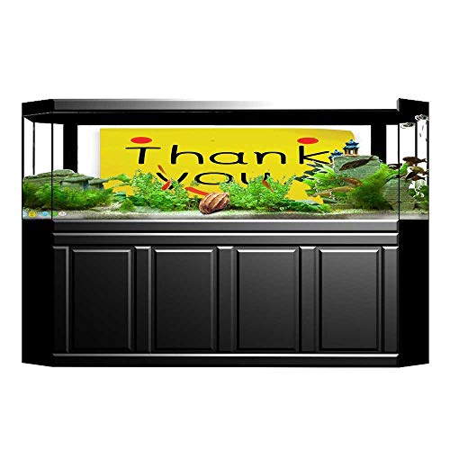 JiahongPan Aquarium Background Yellow Smiley Face Thank You Design on Notepaper Sticky Yellow Red Black Wallpaper Fish Tank Backdrop Static Cling L29.5 x H21.6