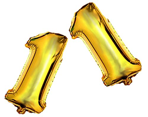 Large Shiny Gold Mylar Foil 40 inch Number 1 Balloon by PartyPlace, 1st Birthday Decorations foil Balloon for Wonderful Party (1 Jumbo Mylar Balloon)