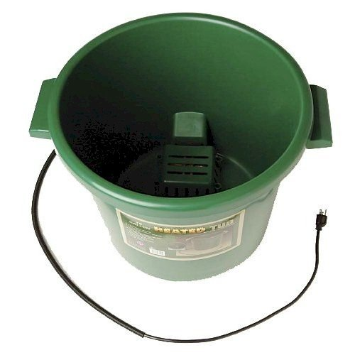 Farm Innovators Model HT-200 16-Gallon Heated Tub with Replaceable Element, 200-Watt (16 Gallon Heated Water Buckets For Horses)