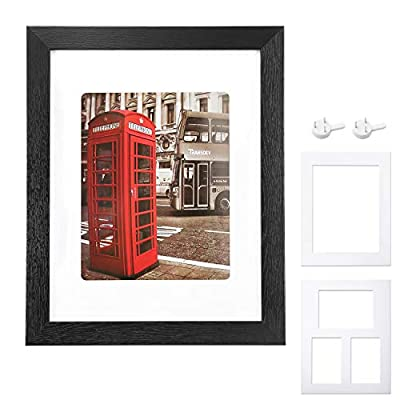 "11""x14"" Picture Frames with Mounting Hook – Luxurous Wood Frame & Shatterproof Plexiglass Window – Suitable for 8""x10"" Photographs, 11×14, Black - DECORATE YOUR HOME & OFFICE WALLS: This minimalist black picture frame with the black mat are going to fit right into your house or office interior décor and make your walls look less empty and much prettier! USE IT WITH OR WITHOUT THE WHITE MAT: Our wall picture frame has a super white mat that is 1.4mm thick and has rounded corners. This hinged picture frame can fit 8""x10"" or 11""x14"" photos, if you don't use the mat. BUILT TO LAST A LIFETIME: Made with solid wood frame strips, premium quality plexiglass and durable hanging hardware, this matted picture frame is incredibly robust and sturdy, as well as shatter proof. - picture-frames, bedroom-decor, bedroom - 41g7xsMcFjL. SS400  -"