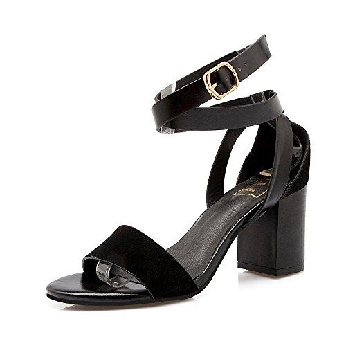 de avec Toe Black Sandales Heels Chaussures Open Mode Croisée épais Boucle Femmes High XfTqXw8