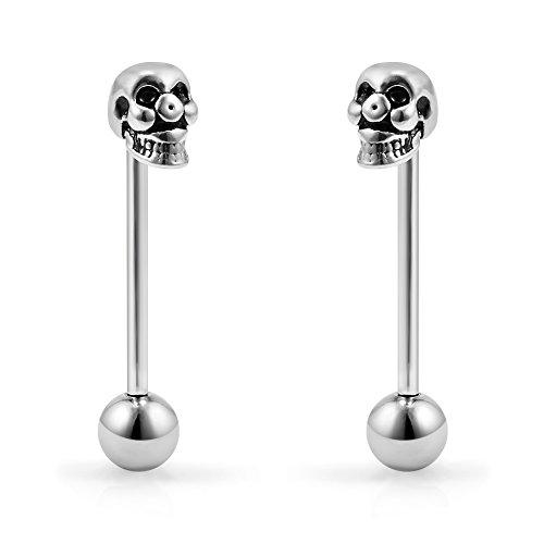 (Ruifan 2pcs Vintage Skull Straight Barbell Nipple Tongue Ring Piercing 14G 3/4