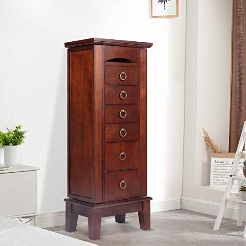 Giantex Jewelry Armoire Cabinet Chest Storage Stand Organizer Mirror Top with 6 Drawers Box Wood Finish 8 Necklace Hooks Bedroom Furniture Large Mirrored Standing Drawer Chest Cabinet, Walnut