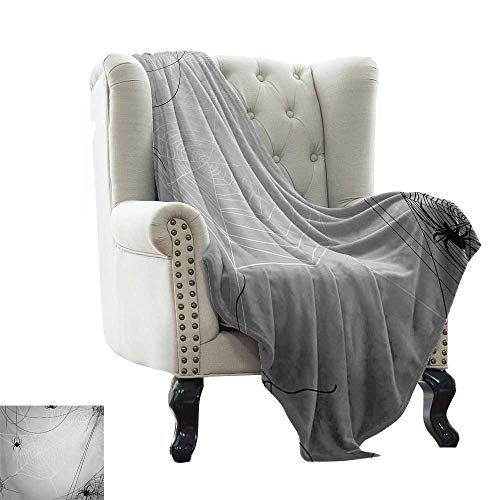 LsWOW Blanket as Bedspread Spider Web,Spiders Hanging from Webs Halloween Inspired Design Dangerous Cartoon Icon,Grey Black White Cozy and Durable Fabric-Machine Washable -