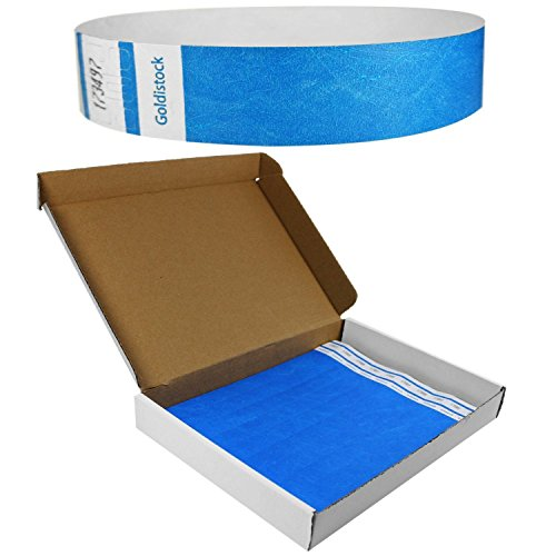 Goldistock Select Series with Box - Tyvek Wristbands Neon Blue 500 Count - 3/4' Premium Tyvek - Event Identification Bands (Paper - Like Texture)
