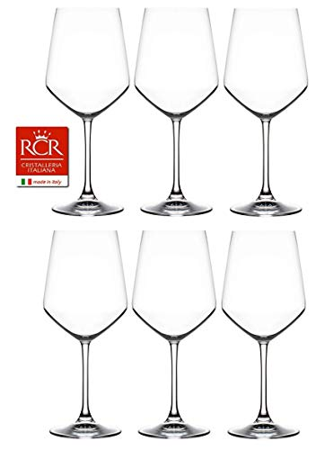 RCR Cristalleria Italiana Aria Collection 6 Piece Crystal Wine Glass Set (Universum Wine (18 oz))