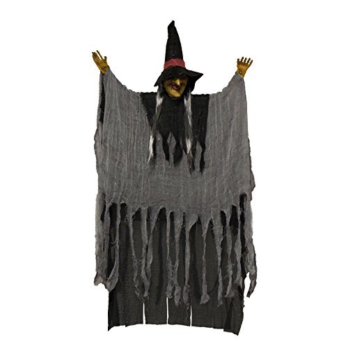 Adorox Scary Flashing Blinking Howling Light up LED Hanging Witch Figure Haunted House Spooky Creepy Novelty Halloween Decoration by Adorox