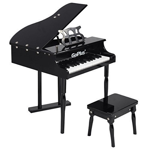 Toddler Baby Grand Piano - Goplus Wood Toy Grand Piano 30 Keys for Childs with Bench (Black)