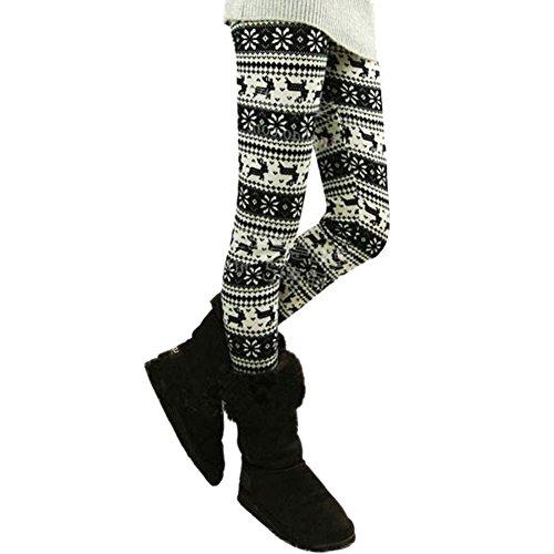 Comemall Womens Teen Girls Printed Leggings Tights Snowflakes Winterpants