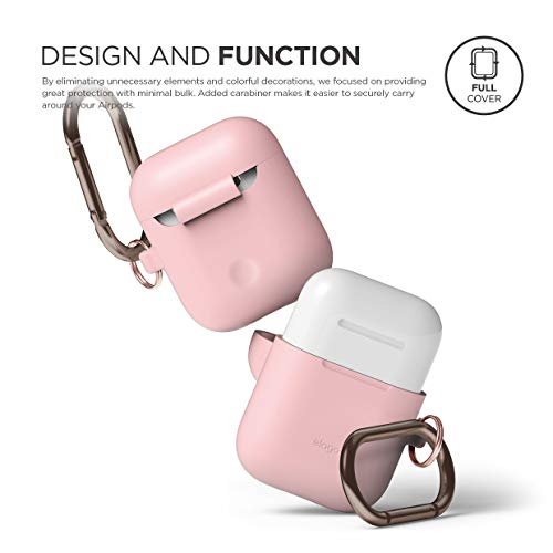 elago AirPods Hang Case [Lovely Pink] - Compatible with Apple AirPods 1 & 2, Front LED Not Visible, Supports Wireless Charging, Extra Protection, Added Carabiner, for AirPods 1 & 2