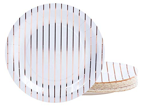 Rose Gold Disposable Plates - 48-Pack Metallic Rose Gold Foil Striped Paper Party Plates, 9-Inch Round Lunch Plates, Dessert, Appetizer, For Wedding, Bridal Shower, Birthday Party ()