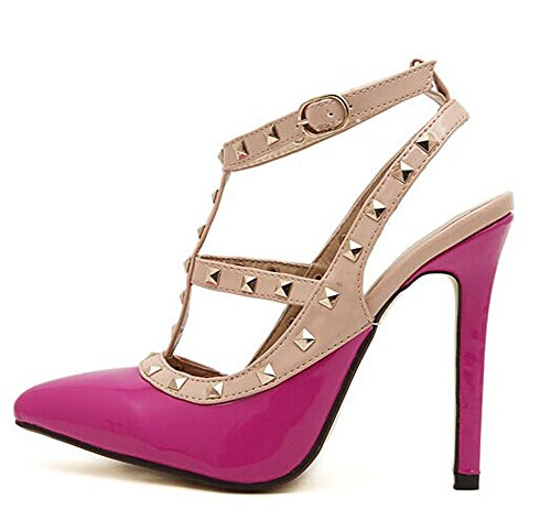 Fashion Heel Summer Sexy High Pointed Vintage Shoes Rivets Candy New Rose Color Red Women nYp5wqxd