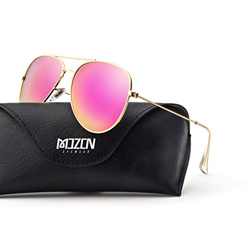 MOZON Mirrored Aviator Polarized Sunglasses for Mens & Womens UV-400 - Aviator Lens Pink Sunglasses