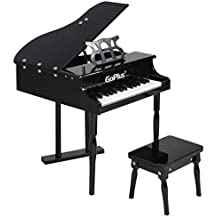 Goplus Wood Toy Grand Piano 30 Keys for Childs with Bench (Black)