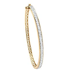 Yellow Gold-Plated Round Diamond Bangle Bracelet