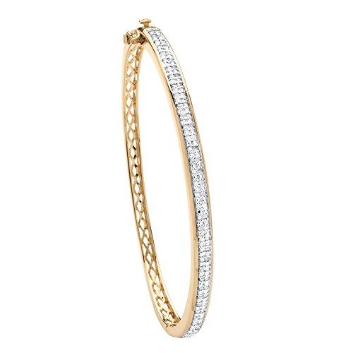 Palm Beach Jewelry 18K Yellow Gold-Plated Bangle Bracelet (5mm), 3/8 cttw Round Diamond, 7